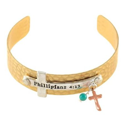 Philippians 4:13 Sideways Cross Cuff Bracelet, Gold  -