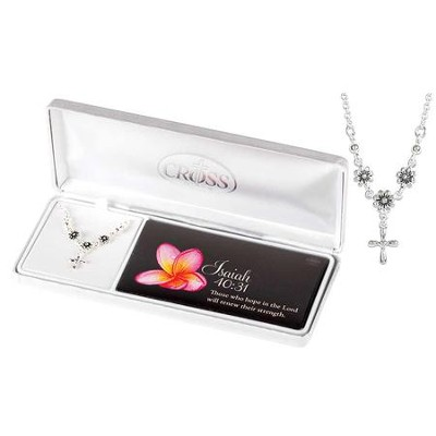 Daisy Necklace with Cross, Silver  -