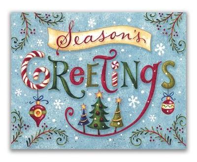 seasons greetings word whimsy christmas cards box of 18 - Seasons Greetings Cards