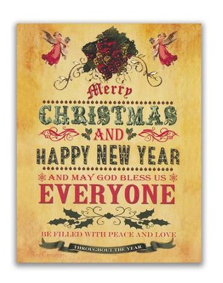 Merry Christmas and Happy New Year Christmas Cards, Box of 18  -