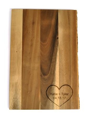 Personalized, Cutting Board with Live Edge, and Heart, Large  -