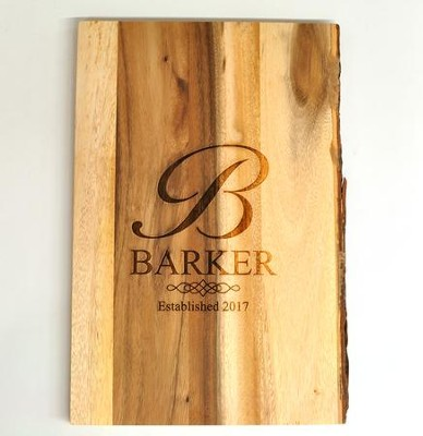 Personalized, Cutting Board with Live Edge, Monogram,  Large  -