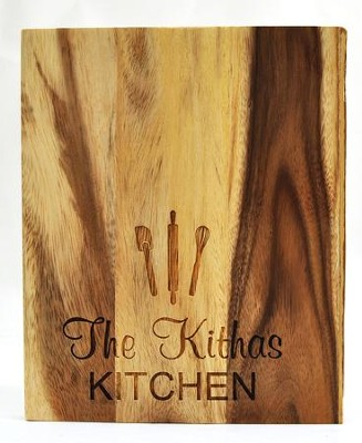 Personalized, Live Edge Cutting Board, with Kitchen  Utensils, Small  -