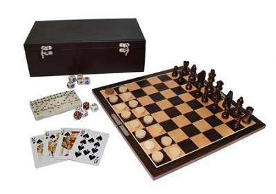 7-in-1 Game Set, Dark Wood  -