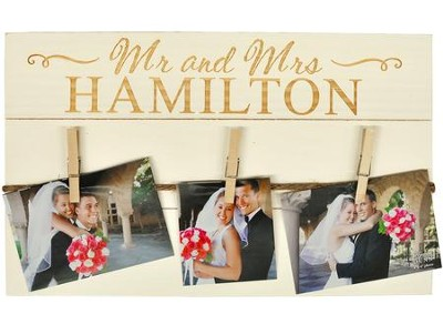 Personalized, Pine Photo Pallet, Mr and Mrs, White   -