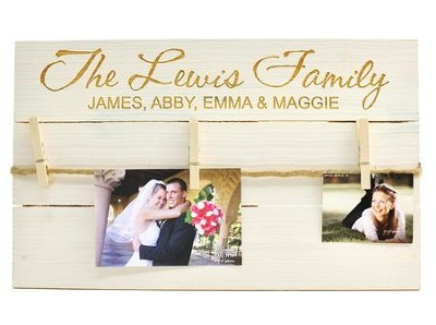 Personalized, Photo Pallet, with Clothespins, Pine White, Family  -