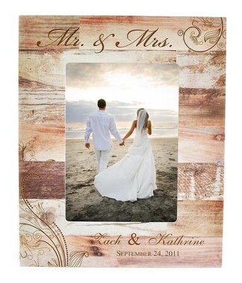 Personalized Mr & Mrs Wedding Photo Frame, Light Brown 10.75   -