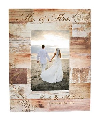 Personalized, 4x6 Photo Frame, Wedding, Light Wood   -