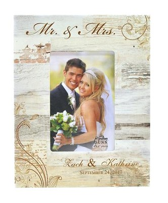 Personalized Mr & Mrs Photo Frame, Wedding, White 9.5   -