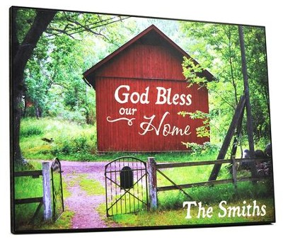 Personalized, Plaque with Barn, Large, God Bless Our Home  -