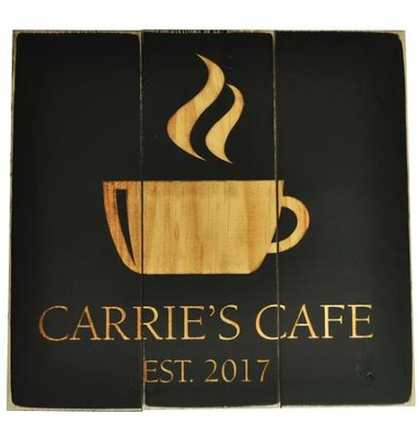 Personalized, Pine Pallet Sign, with Coffee Mug, Black Square  -