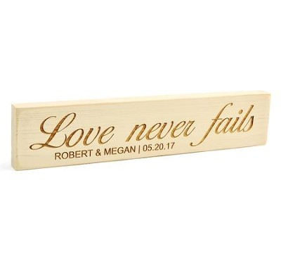 Personalized, Rustic Stick, Large, Love Never Fails,  White  -