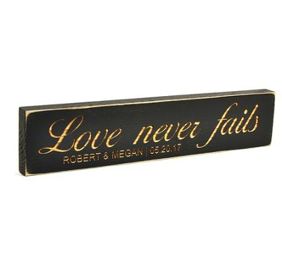 Personalized, Rustic Stick, Large, Love Never Fails, Black  -