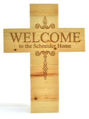 Personalized, Natural Pine Cross, Welcome, Large   -