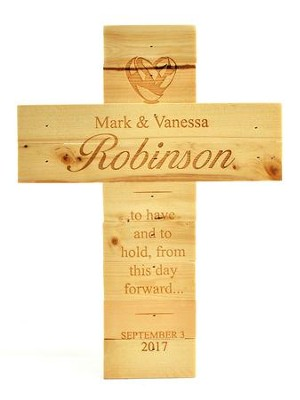 Personalized, Natural Pine Cross, Wedding, Large   -