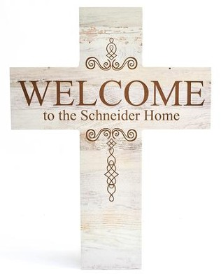 Personalized, Wood Cross, Welcome, White   -