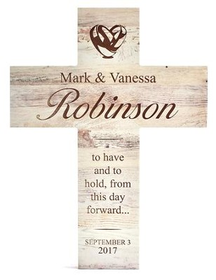 Personalized, Wooden Cross, Wedding, White   -