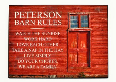 Personalized Plaque With Red Barn Door Barn Rules Large