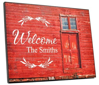 Personalized, Plaque with Barn Door, Welcome, Red   -
