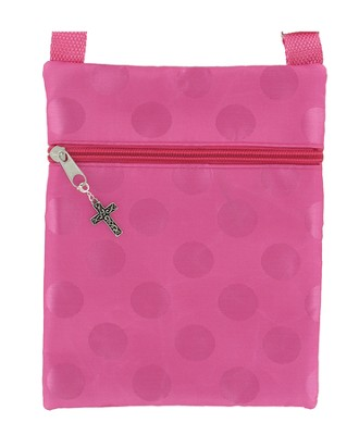 Crossbody Purse, with Cross Charm, Pink   -