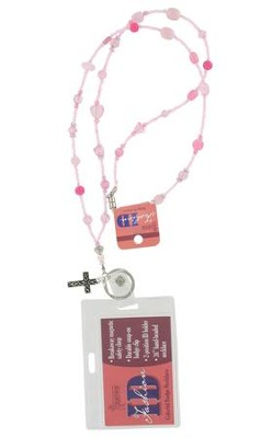Badge Holder, Beaded, with Cross Charm, Pink  -