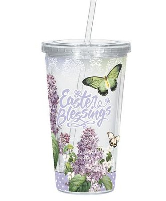 Easter Blessings Cup with Straw, Lavender and Butterflies  -