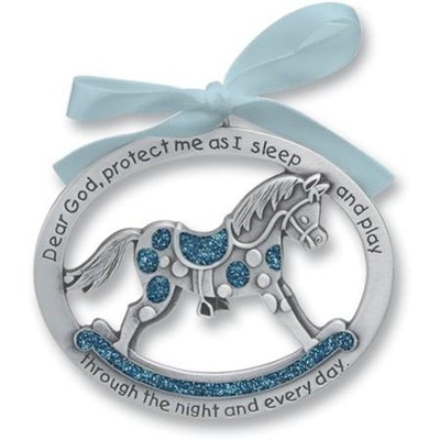 Protect Me While I Sleep Crib Charm, Blue Rocking Horse  -