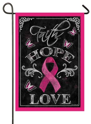 Pink Ribbon, Faith Hope Love Flag, Small  -     By: Victoria Hutto