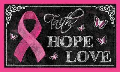 Pink Ribbon, Faith Hope Love Door Mat  -     By: Victoria Hutto