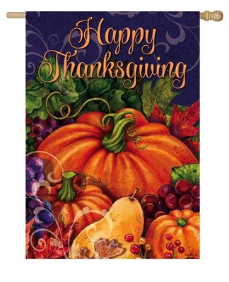 Happy Thanksgiving, Harvest Pumpkin Flag, Large  -     By: Gina Jane