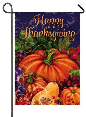 Happy Thanksgiving, Harvest Pumpkin Flag, Small  -     By: Gina Jane