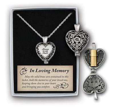 Always In My Heart Memorial Necklace, Pewter  -