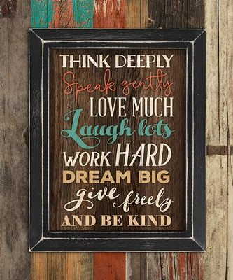 Think Deeply, Speak Gently, Pallet Framed Art  -