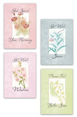 Get Well Soon Cards, Pastel Florals, Box of 12  -