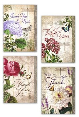 Thank You Cards, Purple Florals, Box of 12  -