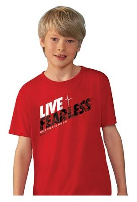 Live Fearless Shirt, Red, Youth Large  -