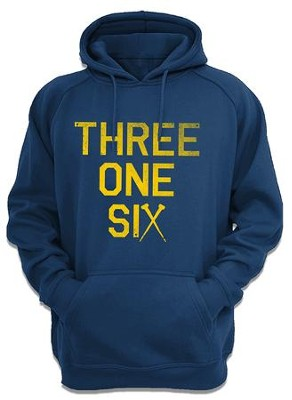 Three One Six Hooded Sweatshirt, Navy, Medium  -