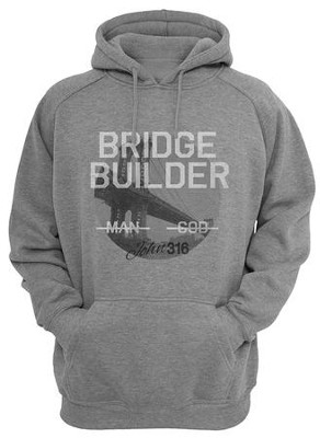 Bridge Builder Hooded Sweatshirt, Grey, X-Large  -