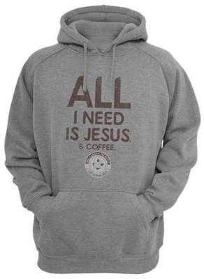 Jesus/Coffee Hooded Sweatshirt, Gray, Small  -