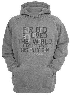 John 3:16 Hooded Sweatshirt, Gray, Small  -