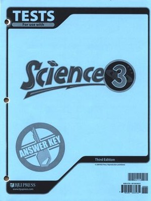 BJU Science Grade 3 Tests Answer Key, Third Edition    -