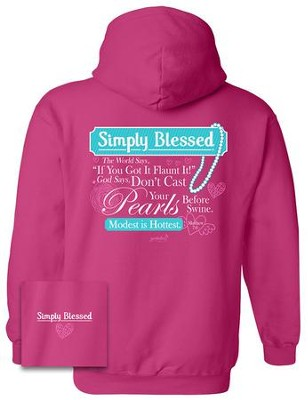 Modest Is Hottest Hooded Sweatshirt, Pink, Medium  -