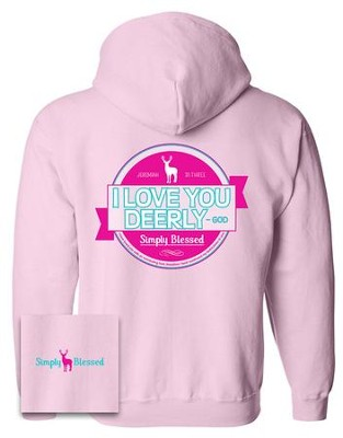 Love You Dearly Hooded Sweatshirt, Pink, Small  -