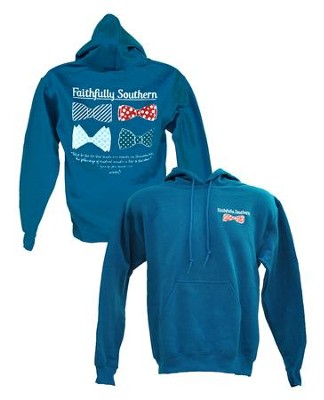 Bow Ties Hooded Sweatshirt, Blue, Large  -