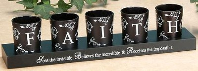 FAITH Votives and Holder, Set of 5  -