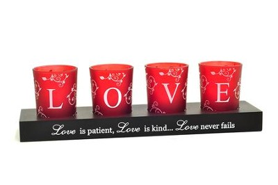 LOVE Votives and Holder, Set of 4  -