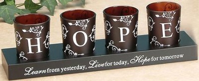 HOPE Votives and Holder, Set of 4  -