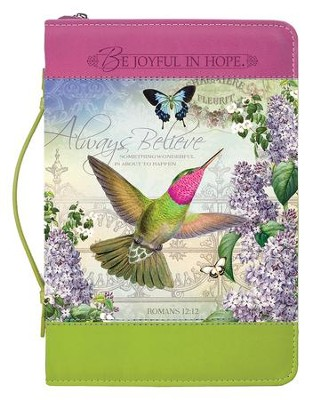 Always Believe, Hummingbird, Bible Cover, Medium  -
