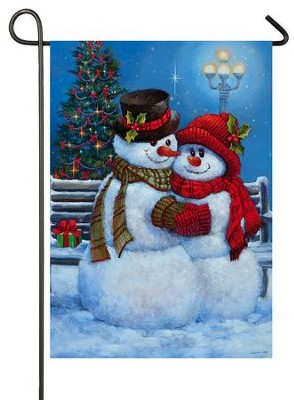 Snowman Couple Flag, Small  -     By: Sandra Bergeron