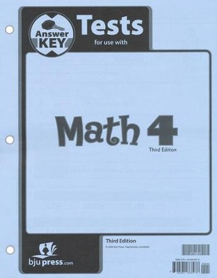 BJU Math Grade 4 Tests Pack Answer Key (Third Edition)    -